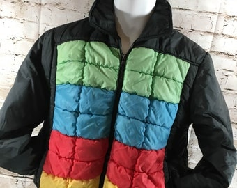 Vintage Retro Montgomery Ward Rainbow Puffer Coat Ski Jacket Snowboarding Size Large Men's Women's
