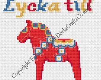 Swedish Dala Horse Cross Stitch Pattern PDF Download