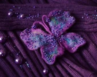 """Brooch felt handmade """" Exotic butterfly"""""""