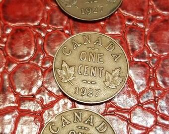 1927 Semi Key Date Canada Small Cent Coin. VG+/F