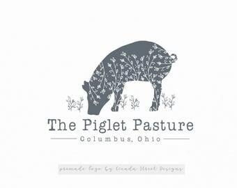 Farm Logo-Pig Logo-Rustic Logo-Premade Logo-Nature Logo-Branding