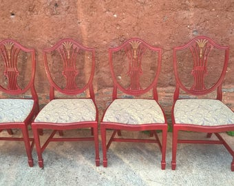 A Stunning Set Of Four Vintage Dining Chairs