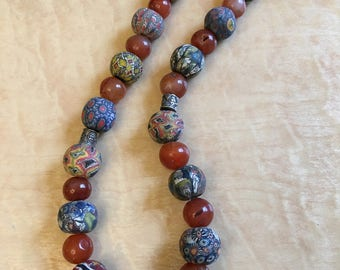 Handmade agate & ceramic  beads fashionable Jewelry Necklace with antique silver