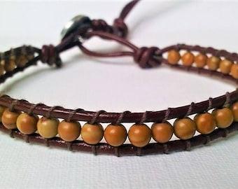 Men Wrap Bracelet, Gemstone Wrap Bracelet