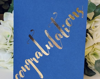 Congratulations A6 card - gold and blue