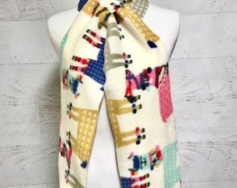 Girls Winter Scarf - Womens Scarves - Llama Scarf - Animal Scarves for Girl Multicolor - Scarf - Fleece Handmade Scarves - Llamas