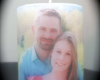 Personalized photo candle