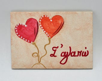 Magnetic for fridge-signs-hand painting-handmade-acrylic colors-hagiography powder-spray-mdf-wood-hearts-i love you