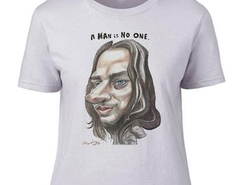 Ladies T shirt Faceless Man Caricature. 100 % cotton.