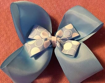 Fancy Bow, Stacked Boutique, Blue Barrette, Easter Bow, Boutique Bow, Wavy Bow, layered over the top, Polka Dot Bow Center, 6 1/2""