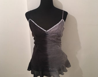 Silk tie dyed pale grey/ black vest top with LACE DETAIL on neckline and ruffle hem