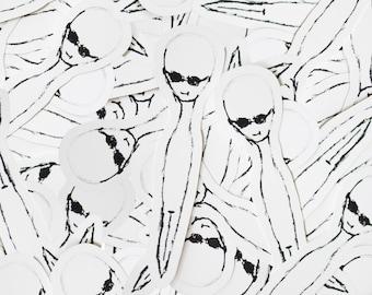 Alien dude line drawing Sticker
