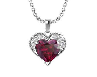 """Sterling Silver Heart Necklace in Multiple Birthstones with 16"""" Chain"""