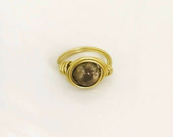 Brown Glass  Bead Gold Wired Ring