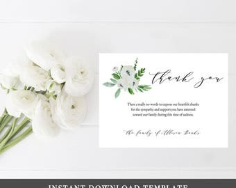 Funeral Thank you Cards Sympathy Thank You Cards Memorial Thank You Card Thank You Notes Sympathy Card Printable Sympathy Card Mother Floral