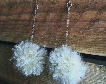 Adorable Handmade Snowball Earrings