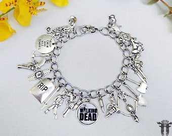 The Walking Dead Inspired Photo Charm Bracelet Zombie Apocalypse TV Series
