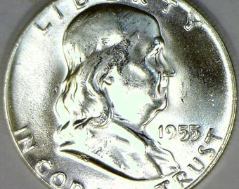 1955 Franklin Half Dollar; Choice BU FBL; Frosty White!