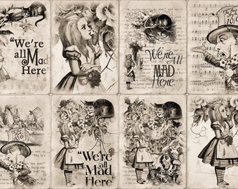 Fridge magnets - vintage design - Set of 8 different Alice in Wonderland characters