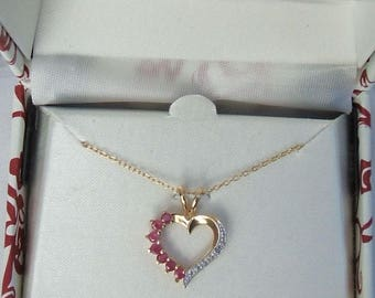 18 kt Gold over .925 Sterling silver genuine Ruby heart pendant & necklace
