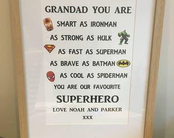 Superhero print for daddy or grandad