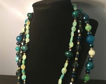 Art Nouveau Multi-Strand Beaded Necklace