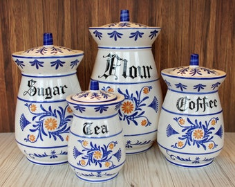 Vintage Royal Sealy HERITAGE Ceramic Canister Set of 4 Flour Sugar Coffee Tea with Lids Japan