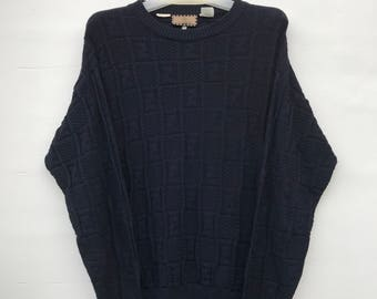 RARE!!! FENDI / Fendi KNITWEAR dark blue Sweatshirt nice design.