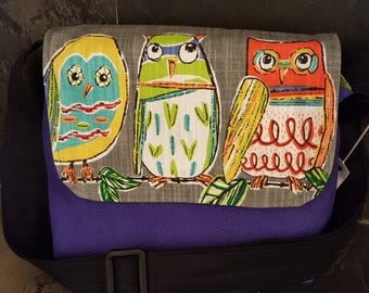 Small Owl Messenger Bag with adjustable strap, Purple or Green