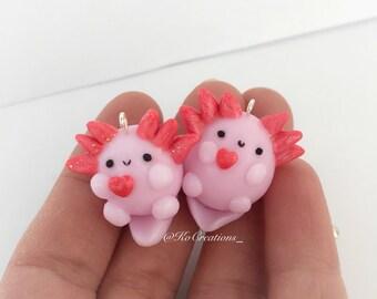 Axolotl Polymer Clay Charms, Kawaii Miniature Keychain Chibi Animal