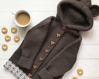Hand Knitted Baby Sweater With Hood - Merino Wool