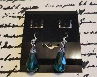 Green drop down earrings