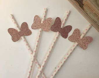 Minnie Mouse paper straws / disney party decorations / birthday party decor /