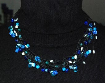 Necklace with blue glass beads, handmade-bracelet with blue glass beads, handmade