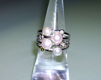 Silver Ring of Tchibo with beads and cubic zirconia, silver ring with Peals and cubic zirconia gem stone