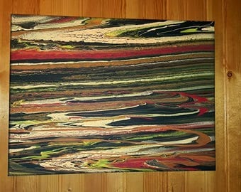 Fluid painting on stretched canvas. Gloss varnish