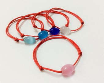 Valentine's Gift. Cats Eye Red String Bracelet. Adjustable. Dainty. Stackable. Good Luck. Evil Eye. Protection.
