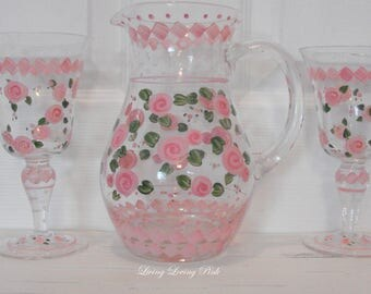 vintage hand painted pink roses glass iced tea lemonade pitcher goblets glasses southern tea OOAK shabby cottage chic