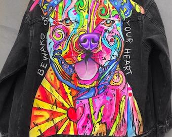Original! Hand painted denim jacket! DOG! Acryl! Hand made!