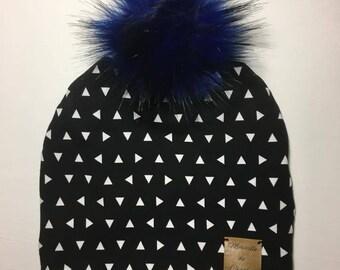 Interchangeable Pompom, triangle, fur, child Hat