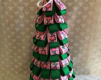Spring decor, spring ribbon tree, spring decoration, ribbon tree, pink flower ribbon, gift for her