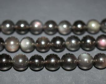 15 inches Full strand,Natural Icey Black Obsidian smooth round beads 8mm 10mm 12mm 14mm 16mm,loose beads,semi-precious stone