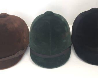 3 Vintage Suede equestrian hats