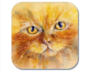 Marmalade Kitten - Cat Coaster (Corked Back). From an original Sheila Gill Watercolour Painting