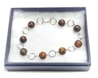 Petrified Wood and Sterling Silver Chain Bracelet