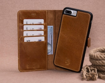 iPhone 7 Plus Tan Color Geniune Leather Wallet Detachable Case with Magnetic Closure,Card and Cash Holders.