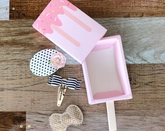Monthly Snap Clip Box - 3 Snap Clips - Bow Set - Chunky Glitter - Faux Leather - Snap Clips - 50mm Clips