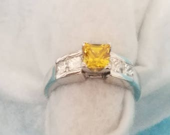 Princess cut yellow sapphire and diamond engagement style band