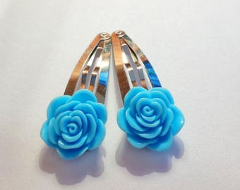 Blue Rose Flower Hair Clip