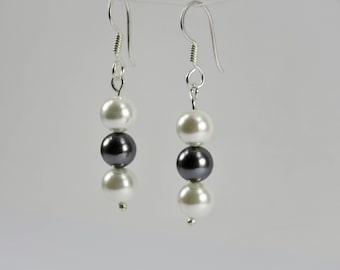 Pearl earrings, Silver